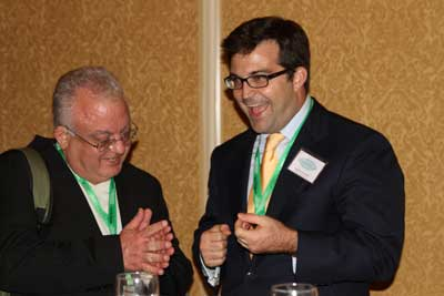 Steve Bozza, left, Director of the Respect Life Office for the Archdiocese of Philadelphia with Geoffrey Strickland of t