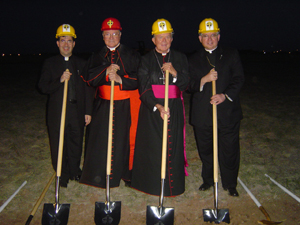 From Left to Right: Fr. Frank Pavone, MEV, Cardinal Martino, Bishop John Yanta and Archbishop José Gomez break ground.