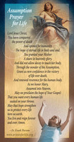 Assumption Prayer for Life prayer card