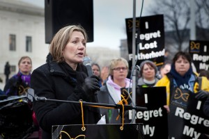 Steven TylerÕs ex-fiancŽe, Julia Holcomb, gave a moving testimony relating her abortion experience with the American Idol judge and rock star.  Holcomb spoke on the steps of the United States Supreme Court building as part of the Silent No More Awareness