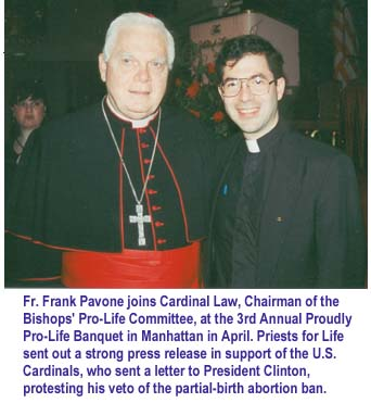 Photo: Fr. Frank with Cardinal Law (33662 bytes)