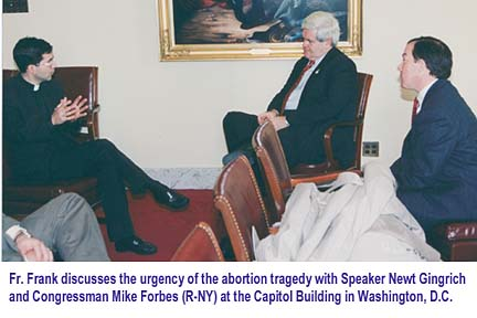 Fr. Frank meeting with Speaker Newt Gingrich and Congressman Mike Forbes (31103 bytes)